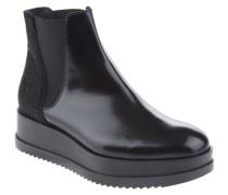 Chelsea Boots, Plateau, Leder, Strass, Schwarz
