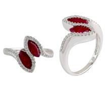 Damenring mit Diamanten und Rubine, Weissgold 585, zus. 0.2 Ct.