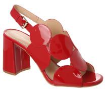 Sandaletten, Kreis-Design, Blockabsatz, Lackleder, Rot