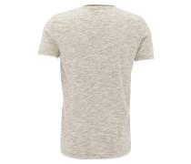 T-Shirt, Baumwoll-Mix, Henley-Ausschnitt, meliert, Grau