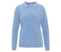 Pullover, uni, reines Kaschmir, Polo-Kragen, Knopfleiste, Blau