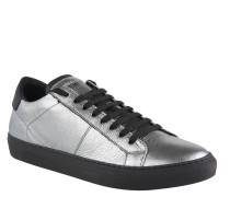 Sneaker, Metallic-Design, Leder, Silber