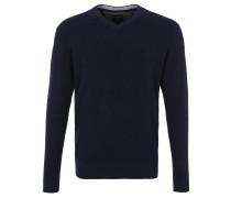 Feinstrickpullover, V-Ausschnitt, meliert, Label Stitching, Blau
