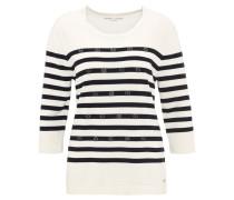 Pullover, Strick, Streifen-Muster, Strasssteine, Weiß