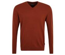 Pullover, Kaschmir-Anteil, V-Ausschnitt, Arm-Patch, Rot