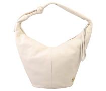 Handtasche, Zierbänder, Dekoknoten, Emblem, Weiß