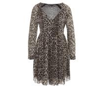 Minikleid, Leoparden-Muster, V-Ausschnitt, Taupe