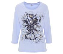 Shirt, 3/4-Arm, Print, Strass, Baumwolle, Blau