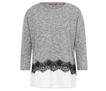 Shirt, 3/4-Arm, Spitzen-Besatz, Melange, Lagen-Look, Grau