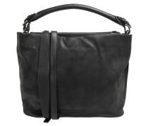 Hobo Bag, weiches Naturleder, 2 Abteile, Schwarz