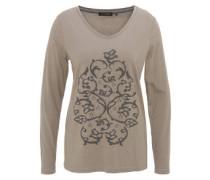 Langarmshirt, Print, Perlen, V-Ausschnitt, uni