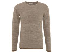 Pullover, Baumwolle, Rollsaum, meliert, Braun