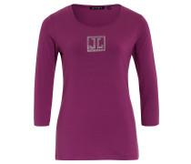 Shirt, 3/4-Ärmel, Baumwoll-Mix, Strass, Pink