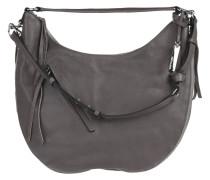 Handtasche, Wildleder, Reißverschluss, Fransen, Grau