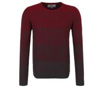 Pullover, Streifen-Strickmuster, reine Baumwolle, Rot