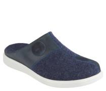 "Pantoffeln ""Gomera"", Filz-Optik, Wechselfußbett, Blau"