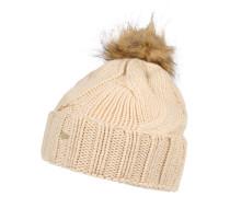 Mütze, Merinowolle, Fellbommel, Zopfmuster, für Damen