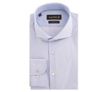 Businesshemd, Custom Fit, Haifisch-Kragen, gepunktet, Blau