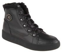 Sneaker, Kunstfell-Besatz, Leder, Emblem, Schwarz