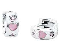 Creolen mit Herzen rosa Silber 925