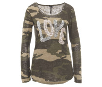 Langarmshirt, Camouflage-Muster, Pailletten, Oliv