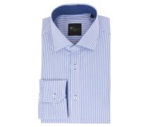 Businesshemd, Slim Fit, gestreift, Kent-Kragen, Blau