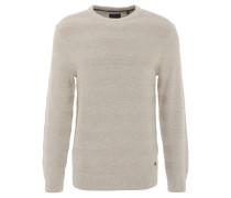 Pullover, Strick-Musterung, reine Baumwolle, Rundhals, Weiß