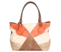 Shopper, Lederoptik, Patchwork-Muster, Braun