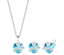 Schmuckset Herz Glamourös Swarovski® Kristalle 925 Silber Isa