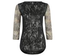 Trainingsshirt, 3/4-Ärmel, transparent, für Damen, Schwarz