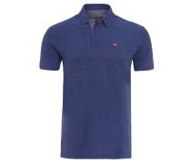 "Poloshirt ""Ebito"", Baumwolle, Struktur, meliert, Blau"