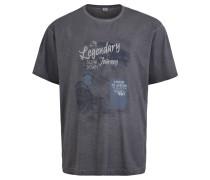 T-Shirt, Print, Melange, Große Größen, Grau