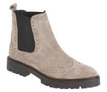 Chelsea Boots, Budapester-Stil, Leder, Plateau, Grau