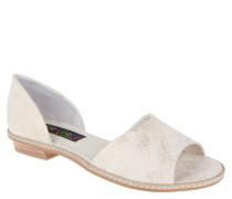 Sandalen, Leder, Metallic-Effekte, strukturierte Oberfläche, Beige