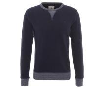 Sweatshirt, melierte Seiten, Logo-Stickerei, Blau