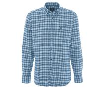 Freizeithemd, Baumwolle, Button-Down-Kragen, Karo, Blau