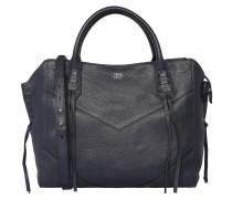 Handtasche, Leder, Fransen, Blau