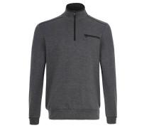 Sweatshirt, Ripp-Struktur, Stehkragen, Brusttasche, Grau