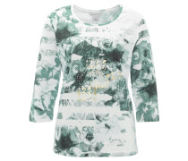 Shirt, 3/4-Arm, Blumen-Print, gestreift, Strass, Baumwoll-Mix