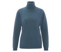 Pullover, Rollkragen, Wolle, Kaschmir-Anteil, Blau