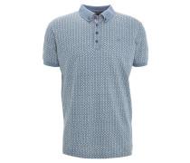 Poloshirt, gemustert, Button-Down-Kragen, Blau