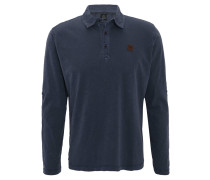 Poloshirt, Langarm, Flammgarn, Baumwolle, Blau