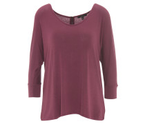 Shirt, 3/4-Arm, uni, Fledermaus-Ärmel, Reißverschluss, Rot