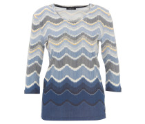 Shirt, 3/4-Ärmel, Zickzack-Muster, Blau