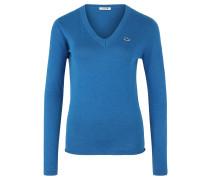 Pullover, Baumwolle, Emblem, für Damen, Blau