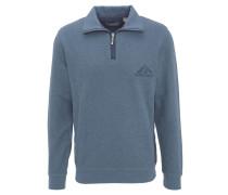 Sweatshirt, Klappkragen, Reißverschluss, Stoffbesätze, Blau
