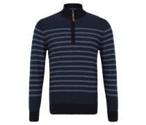 Pullover, Stehkragen, Reißverschluss, Streifen-Look