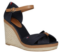 Sandaletten, Espadrille-Look, Keilabsatz, Leder-Details, Blau