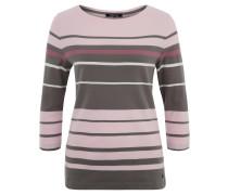 Shirt, 3/4-Arm, Rundhals, Streifenmuster, Baumwolle, Rosa