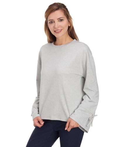 Sweatshirt, Trompetenärmel, Baumwolle, uni
